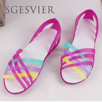 SGESVIER  Women Sandals 2017 Summer New Candy Color Peep Toe Beach Valentine Rainbow Croc Jelly Shoes Woman Wedges SandalsG832