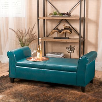 Danbury Teal Leather Armed Storage Ottoman Bench