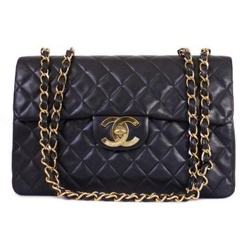 Chanel Vintage Black Quilted Lamb Jumbo XL Single Classic Flap Bag with Gold HDW