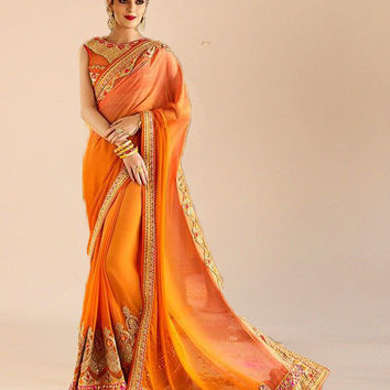 Orange Banglori Silk Patch Border Work Classic Designer Saree