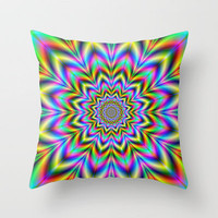 Psychedelic Flower Throw Pillow by Objowl | Society6