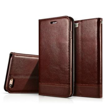 iPhone 8 Case, iPhone 7 Wallet Case,Crosspace Flip PU Leather Protective Shell Magnetic Folio Book Stand Cover with Card Holder for Apple iPhone 8 iPhone 7-Coffee
