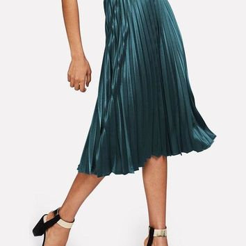 Pleated Metallic Satin Skirt