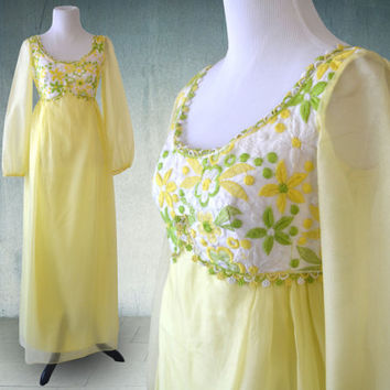 1970s Flower Child Hippie Dress Boho Maxi Green and Yellow Festival Dress