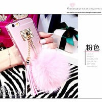 3D Luxury Bling Diamond Rabbut Fur Plush Ball Tassel Soft Clear Phone Case Cover