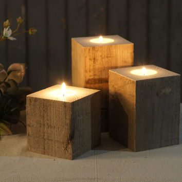 Rustic Reclaimed Wood Candle Holders