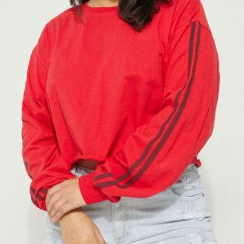 Plus Red Varsity Long Sleeve Crop Top