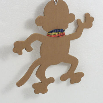 Hand Painted Monkey Ornament - Wood