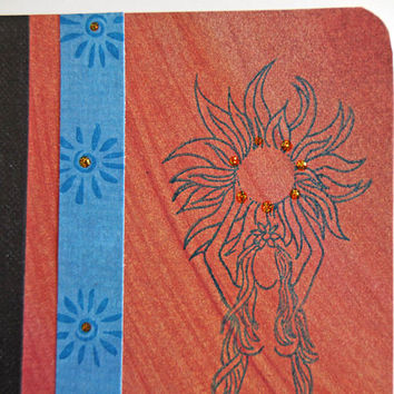 Sun Goddess Mini Journal, Pocket Notebook, Altered Composition Book, Orange and Blue, Morning Pages on the Go, Personal Diary, Memory Book