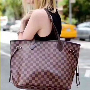 One-nice™ LV Women Shopping Leather Tote Handbag Shoulder Bag Two-piece H-LLBPFSH