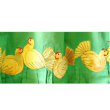 Happy Hens Appliqued textile curtain by BozenaWojtaszek on Etsy