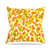"Ebi Emporium ""Giraffe Spots - Orange"" Orange Yellow Throw Pillow"
