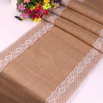 Rustic Lace Jute Table Runner - Linen Hessian Burlap