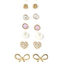 FOREVER 21 Mixed Bow Stud Set Cream/Gold One
