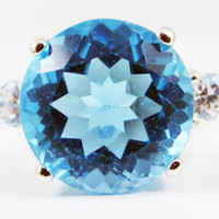 Large Swiss Blue Topaz and CZ Ring Sterling Silver 925, December Birthstone Ring, Large Topaz Ring, Swiss Blue Topaz Ring, Three Stone Ring