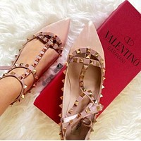 Valentino Fashion Women Classic Rivet Pointed Flat Sandals Shoes Nude Pink