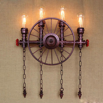 Water Pipe Wall Lamp Vintage Industrial Lighting W/ 4 Lights Fixture Retro Loft Led Edison Wall Sconce Apliques Pared