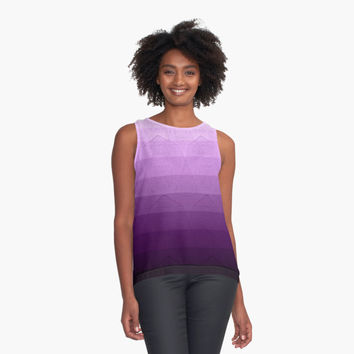 'geometric pattern purple, pink and black' Contrast Tank by VanGalt