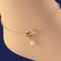 Sexy Imitation Pearl Anchor Gold Silver Ankle Chain Anklets Bracelet Charm Anklet for Women Vintage Foot Jewelry SM6