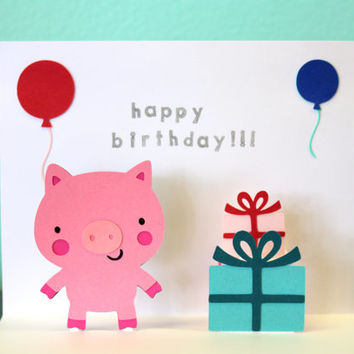 Pop Up Card - Pig - Birthday Card