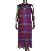 Marina Rinaldi by Max Mara Womens Diapason Plaid Sleeveless Maxi Dress