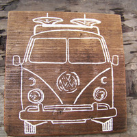 Reclaimed wood wall decor art  sign - vw bus - hand painted
