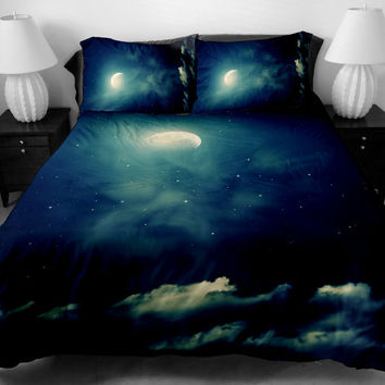 Galaxy bedding set cloud and moon bedding set galaxy bed spread win quilt cover galaxy bed sheets with two matching galaxy pillow covers
