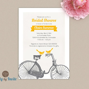 rustic bridal shower invitation yellow and gray vintage bicycle and love bids wedding shower invitation