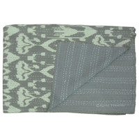 Gray Twin Size Indian Ikat Kantha Quilt
