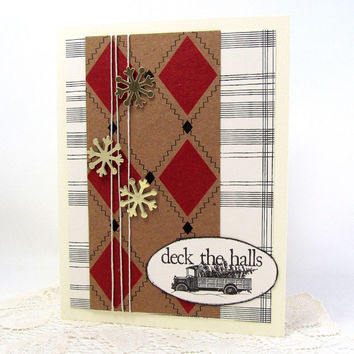 Christmas Card - Deck the Halls - Rustic Christmas Card - Red and Ivory Card - Gold Snowflakes - Black and Ivory Card - Blank Card