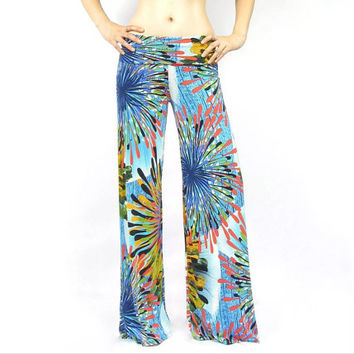 Women's Boho Blue Firework Pattern Striped High Waist Fold Over Palazzo Pants Yoga Pants