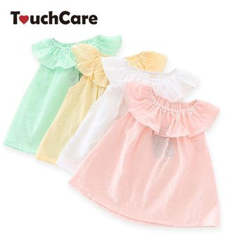 Touchcare Sleeveless Solid Baby Girl T-shirts Lotus Leaf Collar A-line O-Ncek Toddler Top Blouse Baby Girls Clothing Kid T Shirt