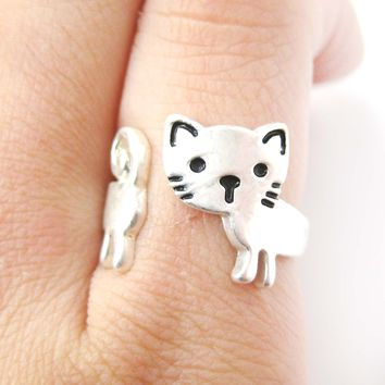 Kitty Cat Shaped Cartoon Animal Wrap Around Ring in Silver | DOTOLY