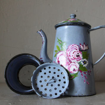 Pretty French Enamel Coffee Pot 1940s Floral