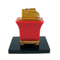 Fire Starter - Vintage Red Bakelite Pagoda Table Lighter by ASR with Original Replacement Flints, Instructions, & Display Stand
