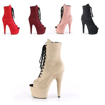 "Adore 1021FS Vegan Suede Lace Up Ankle Boot - 7"" High Heels"