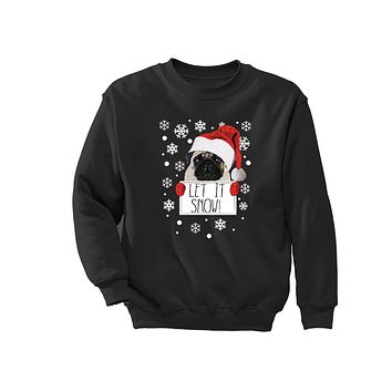 XtraFly Apparel Let It Snow Pug Ugly Christmas Pullover Crewneck-Sweatshirt