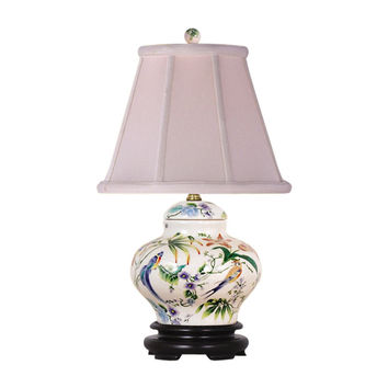Floral and Bird Motif Porcelain Ginger Jar Table Lamp 16.5""