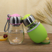 Creative 400ML Glass Water Bottle With Tea Infuser Gift Bag Penguin Shape Students Cup Sports Bootle Travel Bottles Mug