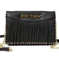 Betsey Johnson On The Fringe Crossbody Bag Black