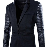 jeansian Men's Fashion Lattice Leather Blazer Suits Jacket Coat Outwear 2 Styles 9339