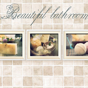 Bathroom Decor Set of 3 Photographs, Wall Art, Wall Decor, Rustic Bathroom Decor, Vintage Shabby Chic Bathroom Art, Bathroom Decor, Save 25%