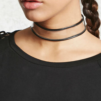 Clear Faux Leather-Trim Choker