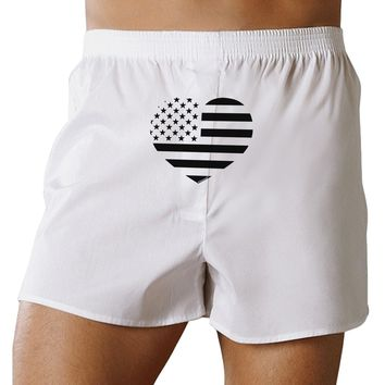 American Flag Heart Design - Stamp Style Front Print Boxer Shorts by TooLoud