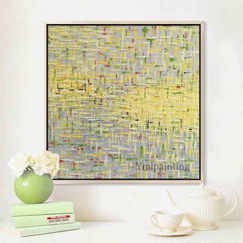 Bilder Yellow Abstract acrylic painting on canvas extra Large Wall Art Pictures for living room Home Decor Geometric cuadros abstractos