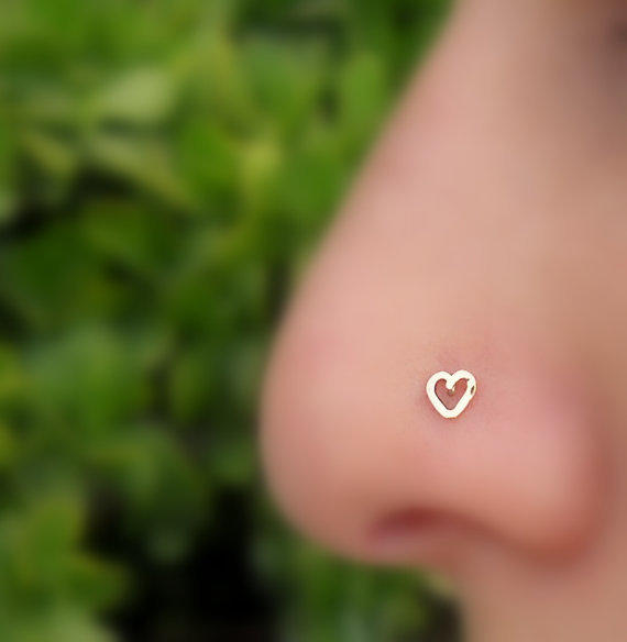 Heart Nose Ring  Stud