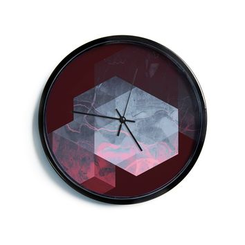 "Cafelab ""Dramatic Geometry"" Black Pink Geometric Modern Wall Clock"