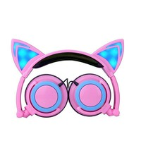 Foldable Flashing Glowing Cat Headphones