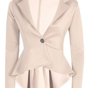 Apricot Colored Single Button Dip Hem Blazer