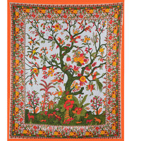 Queen White Colorful Tree of Life Tapestry Wall Hanging Bedspread Bedding on RoyalFurnish.com